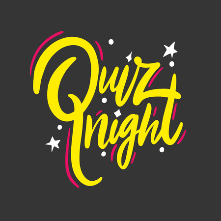 Quiz night. Hand drawn vector lettering phrase. Isolated on black background. Design for decor, cards, print, web, poster, banner, t-shirt