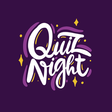Quiz night. Hand drawn vector lettering phrase. Isolated on violet background. Design for decor, cards, print, web, poster, banner, t-shirt Ilustração