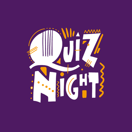 Quiz night. Hand drawn vector lettering phrase. Isolated on violet background. Design for decor, cards, print, web, poster, banner, t-shirt Ilustrace