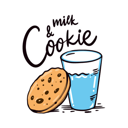 Cookie and milk hand drawn vector Illustration. Isolated on white background. Design for decor, cards, print, web, poster, banner, t-shirt.