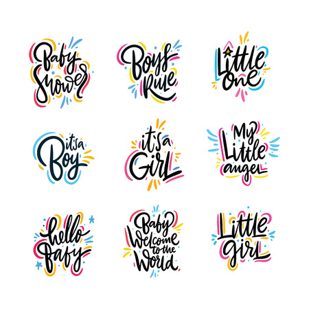 Baby lettering vector set. Hand drawn vector illustration. Motivation phrase. Isolated on white background. Cute typography style. Design for greeting cards, logo, sticker, banner, poster, print Stock Illustratie