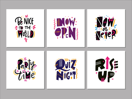 Lettering Motivation quotes vector set. Sweet cute inspiration typography. Hand drawn vector illustration. Isolated on white background. Design for greeting cards, logo, sticker, banner, poster, print
