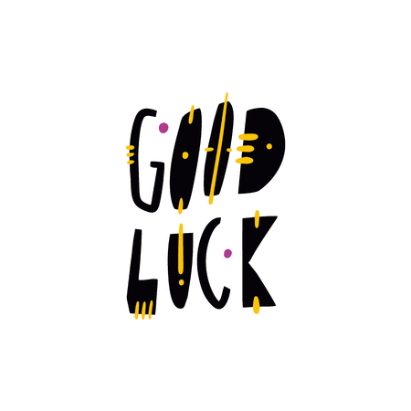 Good Luck hand drawn vector lettering. Modern typography. Isolated on white background. Design for invitation and greeting card, prints and posters.