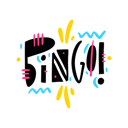 Bingo hand drawn vector lettering phrase. Modern typography. Isolated on white background.