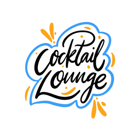 Cocktail Lounge hand drawn vector lettering. Isolated on white background.