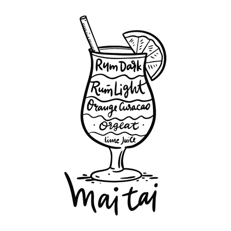 Cocktail Mai Tai and its ingredients in vintage style. Hand draw vector illustration isolated on white background. Illustration