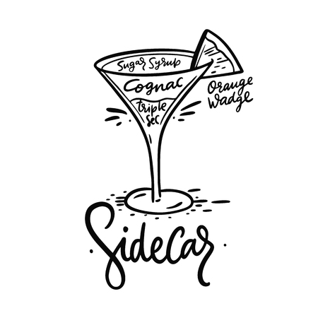 Cocktail Sidecar and its ingredients in vintage style. Hand draw vector illustration isolated on white background. Illustration