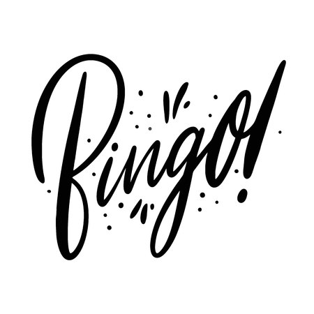 Bingo. Hand drawn vector lettering. Isolated on white background.