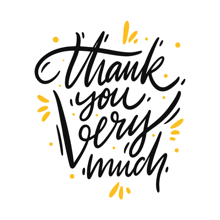 Thank you very much. Hand drawn vector lettering. Isolated on white background. Design for poster, greeting card, photo album, banner. Vector illustration  イラスト・ベクター素材