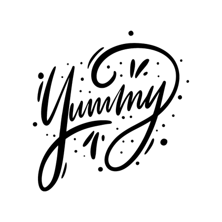 Yummy sign. Hand drawn vector lettering. Isolated on white background.