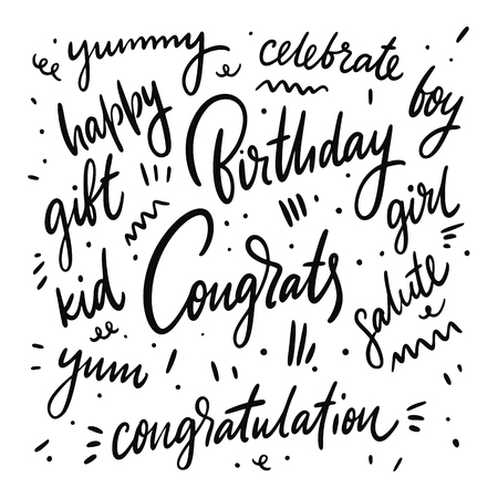 Congrats lettering set phrase. Hand drawn vector lettering. Motivational inspirational quote. Vector illustration isolated on white background. Design for greeting cards, logo, sticker, banner, poster, print