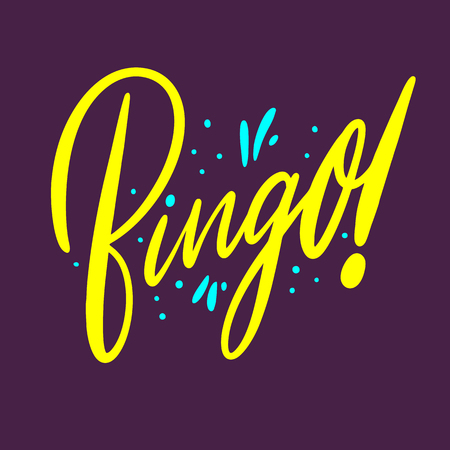 Bingo sign hand drawn vector lettering. Isolated on purple background. Vettoriali