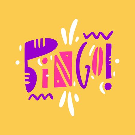 Bingo sign hand drawn vector lettering.