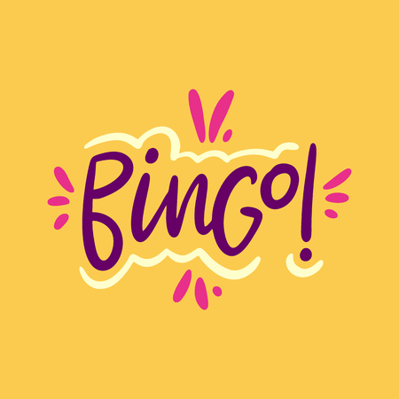 Bingo sign hand drawn vector lettering . Modern typography. Isolated on yellow background. Vettoriali