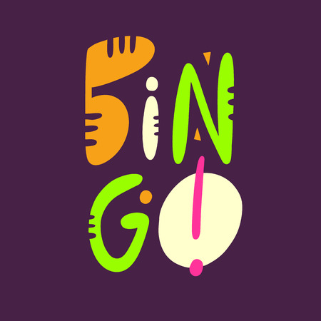 Bingo sign hand drawn vector lettering . Modern typography. Isolated on purple background.