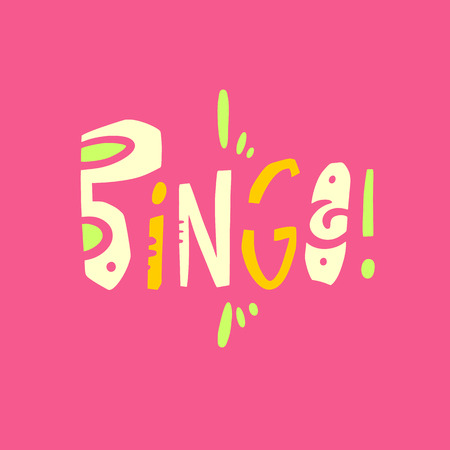 Bingo sign hand drawn vector lettering . Modern typography. Isolated on pink background. Vettoriali
