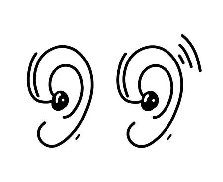 Ear Hearing Aid hand drawn vector illustration