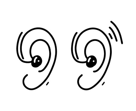 Ear Hearing Aid hand drawn vector illustration
