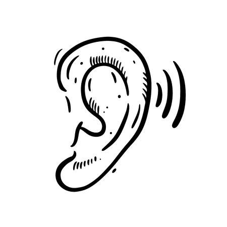 Ear Hearing Aid hand drawn vector illustration. Isolated on white background.