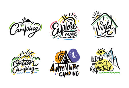 Travel and Adventure phrase hand drawn vector lettering. Black ink. Isolated on white background.  イラスト・ベクター素材
