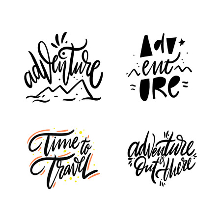 Adventure set collection. Hand drawn vector lettering. Isolated on white background. Reklamní fotografie - 122210804