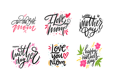 Happy Mother day set lettering. Hand drawn vector illustration. Isolated on white background. Ilustração
