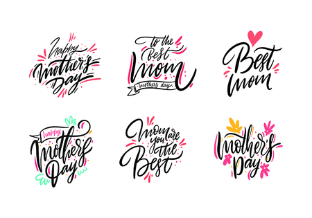 Happy Mother day set lettering. Hand drawn vector illustration. Isolated on white background. Illustration