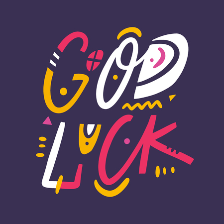 Good Luck phrase hand drawn vector lettering. Modern typography. Isolated on violet background. Design for invitation and greeting card, prints and posters.