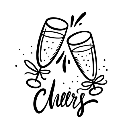 Cheers lettering with hand drawn wine glasses. Cartoon style. Isolated on white background. Çizim