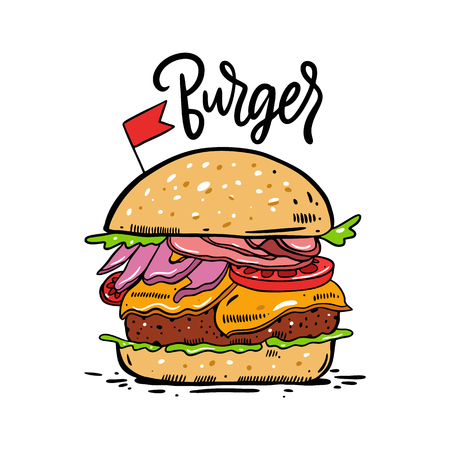 Burger, hamburger hand drawn vector illustration. Cartoon style. Isolated on white background. Design for banner, poster, menu, cafe, bar Ilustração