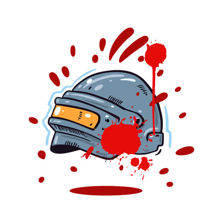 Helmet with game hand drawn vector illustration. Cartoon style.