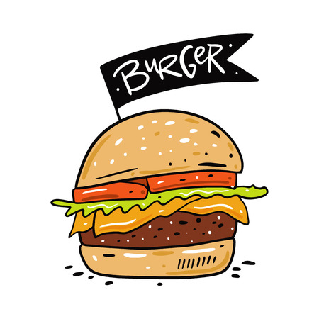 Burger hand drawn vector illustration. Cartoon style. Isolated on white background. Design for banner, poster, card, print, menu