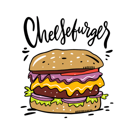 Cheeseburger hand drawn vector illustration and lettering. Cartoon style. Isolated on white background. Design for banner, poster, card, print, menu