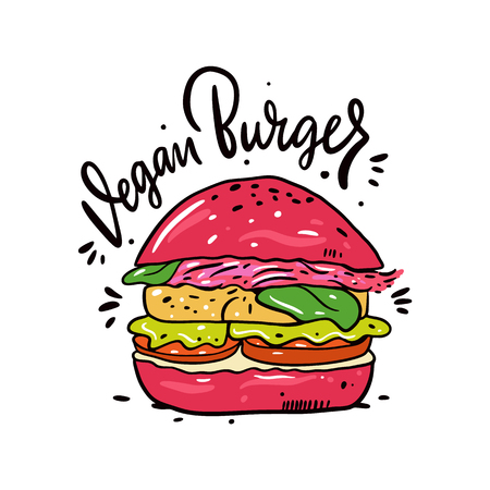 Vegan or Vegetarian Burger. Hand drawn vector illustration and lettering. Cartoon style.
