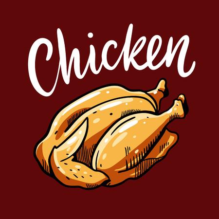 Chicken food hand drawn cartoon vector illustration.