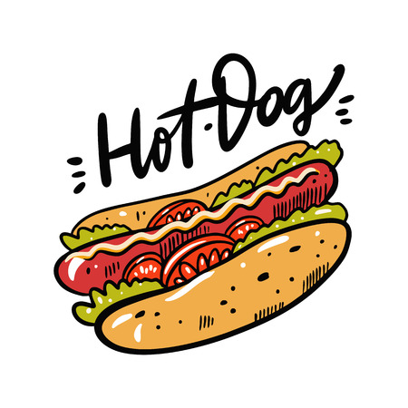 Hotdog hand drawn vector illustration and lettering. Cartoon style. Isolated on white background.
