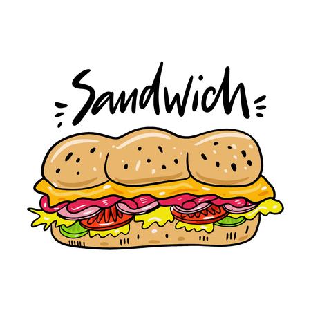 Sandwich hand drawn vector illustrtion. Cartoon style.