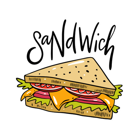Sandwich hand drawn vector illustrtion. Cartoon style.