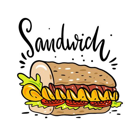 Illustration vectorielle dessinée à la main en sandwich. Style de bande dessinée.