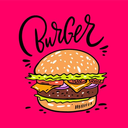 Burger ręcznie rysowane ilustracji wektorowych. Styl kreskówki. Na białym tle na różowym tle. Projekt banera, plakatu, karty, druku, menu