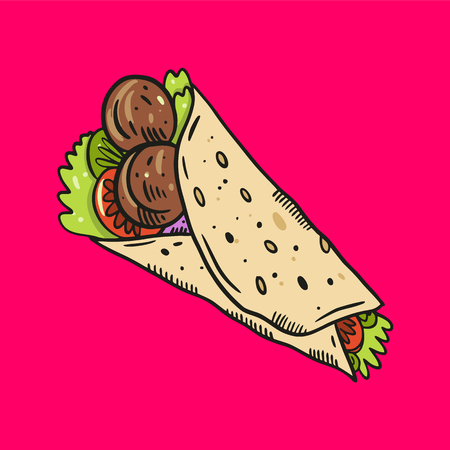 Fajita. Mexican food. Hand drawn vector illustration. Isolated on pink background.