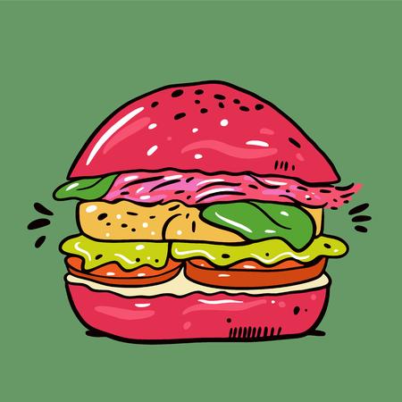 Vegan or Vegetarian Burger. Hand drawn vector illustration. Cartoon style. Isolated on green background. Design for banner, poster, card, print, menu Ilustração