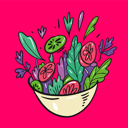 Green salad of fresh vegetables. Hand drawn vector lettering quote. Isolated on pink background. Design for decor, cards, print, web, poster, banner, t-shirt