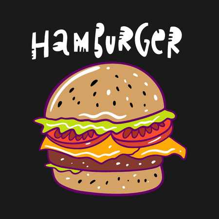 Hamburger hand drawn vector illustration and lettering. Fast food cartoon style. Isolated on black background. Design for banner, poster, card, print, menu.