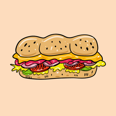 Sandwich hand drawn vector illustrtion. Cartoon style. Cute food. Isolated on background. Design for banner, poster, menu board.
