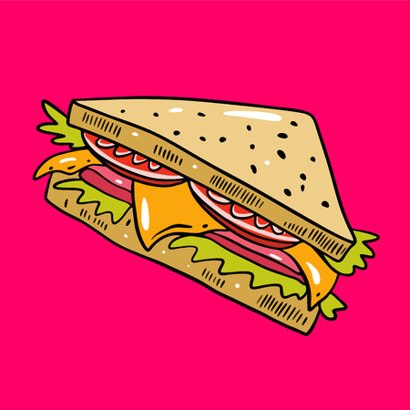 Sandwich hand drawn vector illustrtion. Cartoon style. Isolated on pink background. Design for banner, poster, menu board.