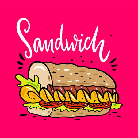 Sandwich hand drawn vector illustrtion and lettering. Cartoon style. Isolated on pink background. Design for banner, poster, menu board.