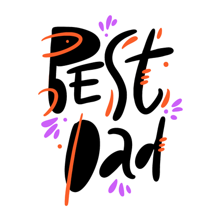 Best Dad hand drawn vector lettering. Isolated on white background. Banque d'images - 125070369