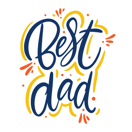 Best Dad hand drawn vector lettering. Isolated on white background. Banque d'images - 125070371