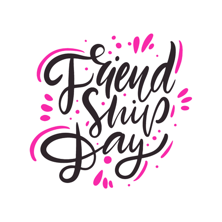 Friendship day hand drawn vector lettering. Isolated on white background.